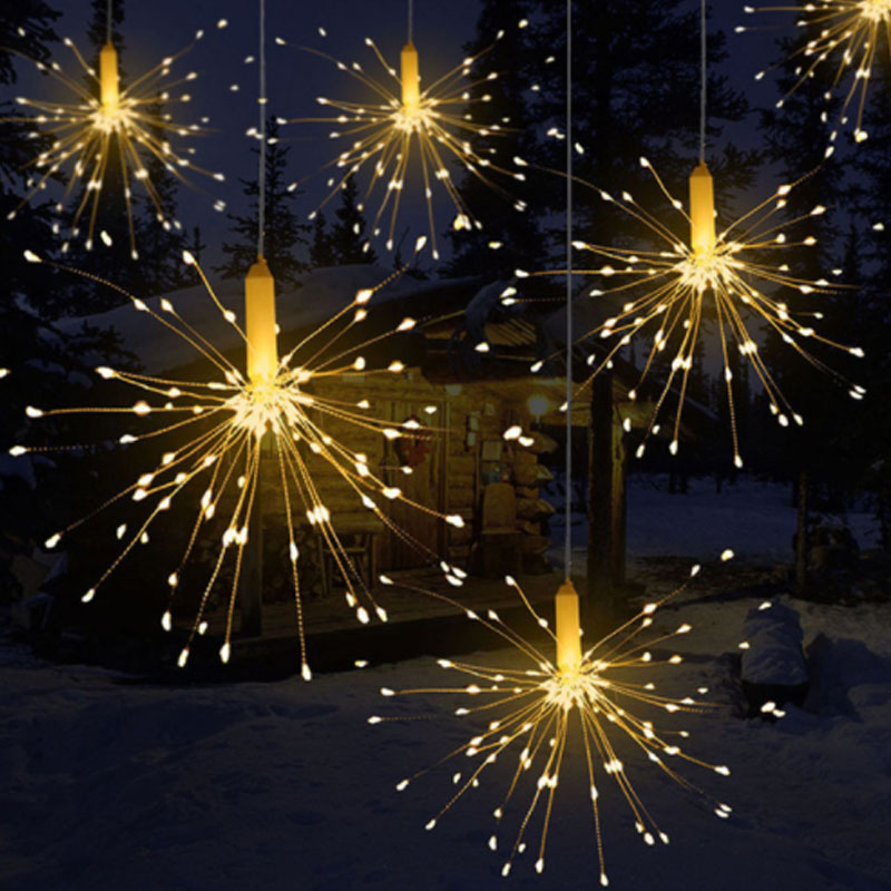 100LED Hanging Starburst Fairy Lights Battery LED Fireworks Silver Wire String Lights Remote Controlled Christmas Lights Outdoor