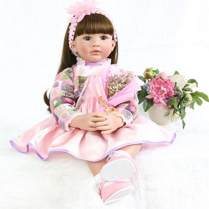 2019 New Popular 60cm Real Silicone Reborn Baby Girl Doll Toys Realistic Newborn Princess Babies Fashion Dolls Toy Bebe Reborn