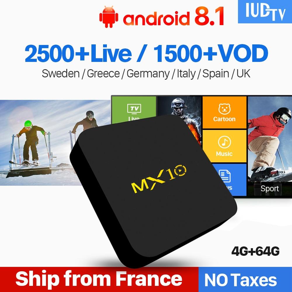 Spain IPTV UK Germany Italy Sweden Greek MX10 Android 8.1 4+64G IP TV Box Turkey Portugal IUDTV IPTV Subscription TV Receiver