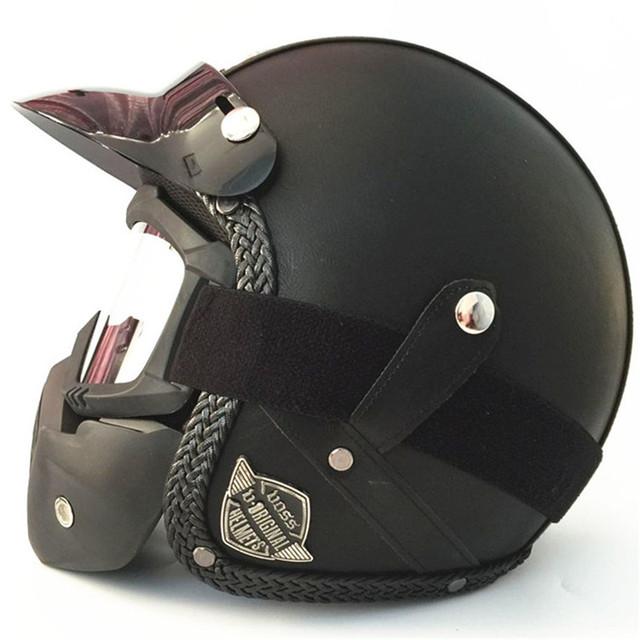 Vintage Design Leather  Motorcycle  Helmet (DOT Approved)