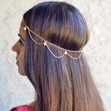 Women Headbands Indian Boho Trendy Bride Hair Hair Jewelry Decoration Metal Head Piece Wedding Head Chain Hair Jewelry T004