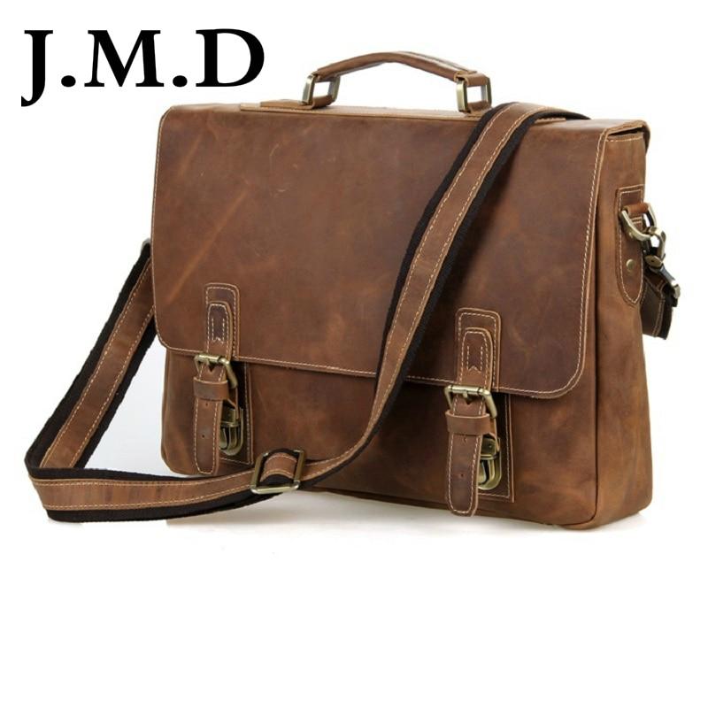J.M.D Retro Antique Style Mens Crazy Horse Leather Messenger Shoulder Bags Briefcases Bags Laptop Bag Hand bags 7229 технический фен hammer flex hg2020