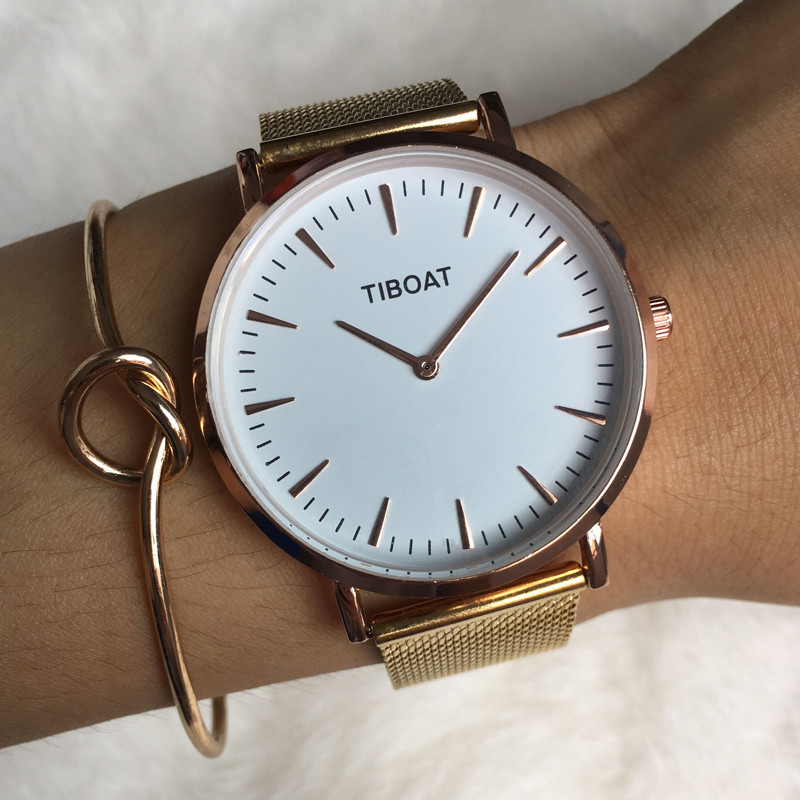 TIBOAT 40mm Stainless Steel Mesh Minimalist Watch Japan Movement Quartz  Waterproof Watch Gold Whatch Women Gifts For Women