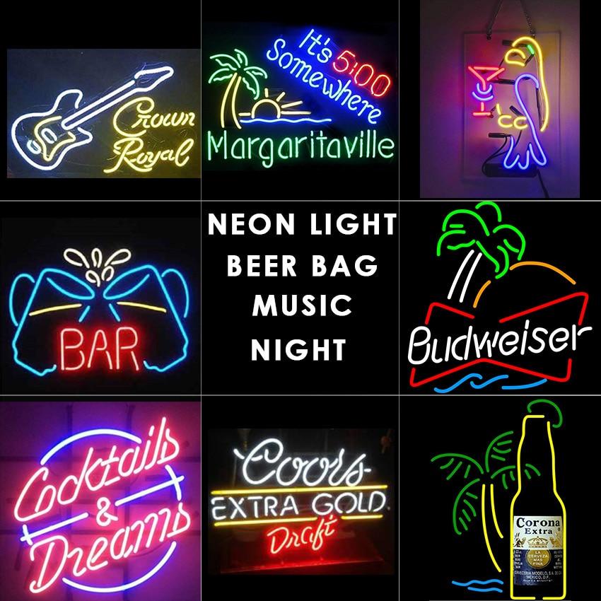 beer bar Neon light music neon signs wine design Glass