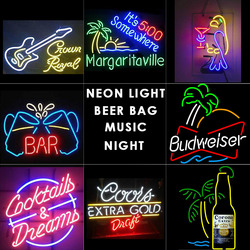 beer bar Neon light music neon signs wine design Glass Tube light for Bar home bussiness 18'X4' inch 17'X14'/19'X15'