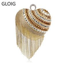 Heart Shaped Tassel Women Messenger Bags Finger Ring Diamonds Small Purse Day Clutches Handbgas For Party Dinner Wedding