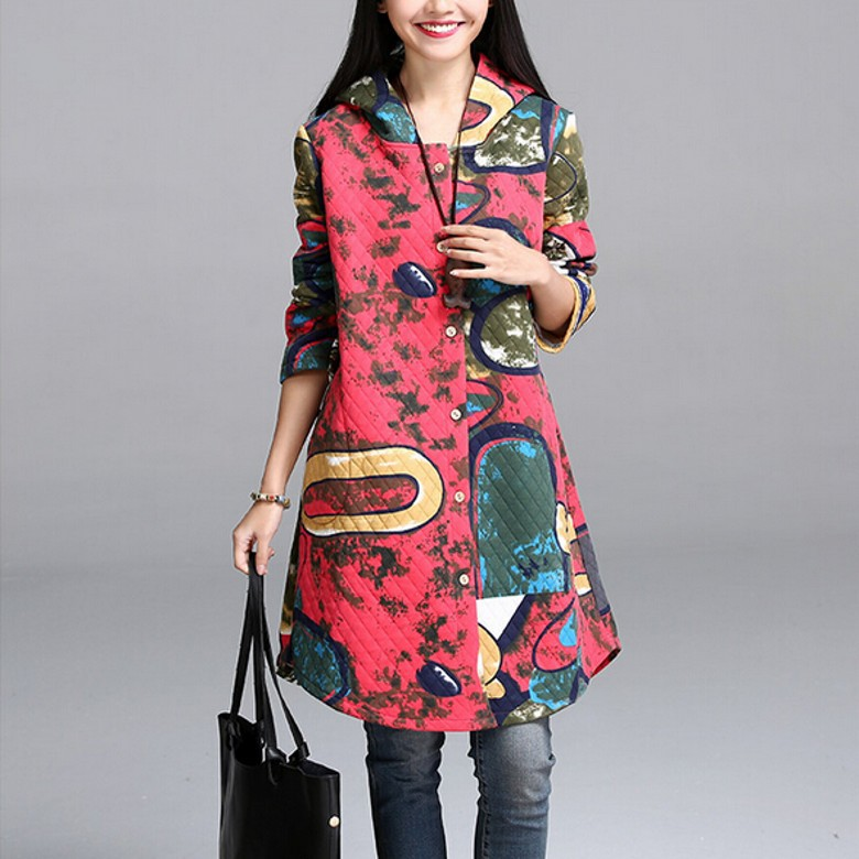 New2015Fashion women cute big size printed quilted cotton hooded coat outwear autumn winter loose elegant female