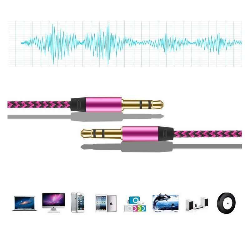 Rovtop 1 м нейлоновый Aux кабель 3,5 мм штекер-штекер автомобильный аудио кабель Позолоченный штекер сетевой шнур для Iphone Xiaomi динамик Z2