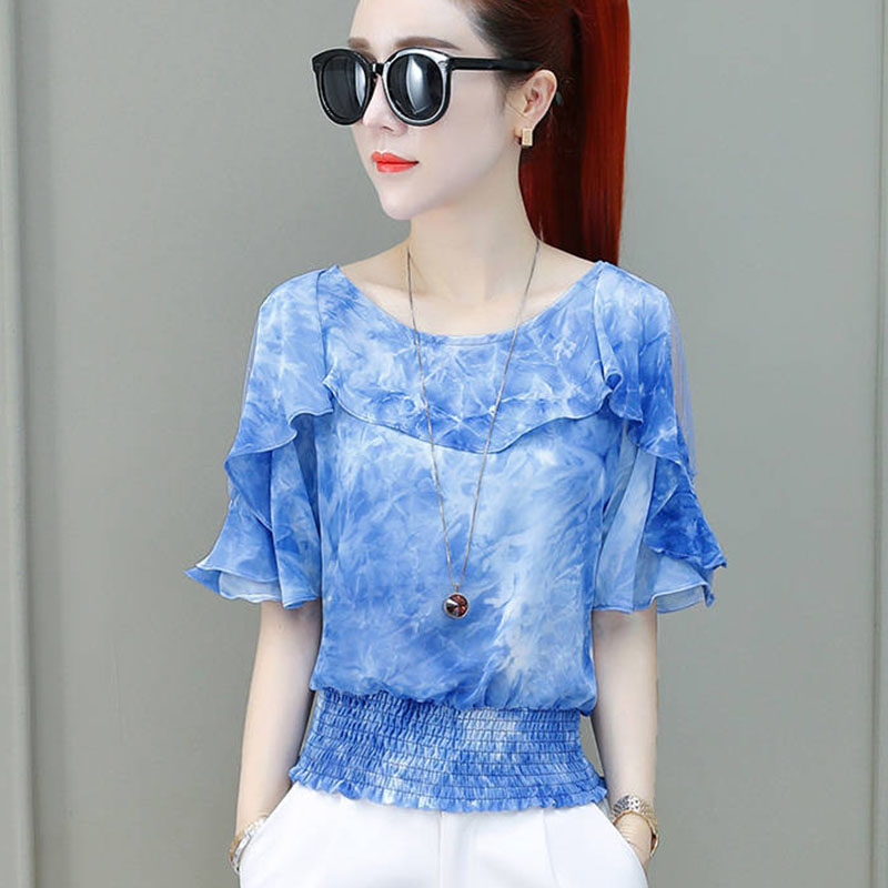 Women Spring Summer Style Chiffon   Blouses     Shirts   Lady Casual Short Sleeve O-Neck Off SHoulder Blusas Tops Blue Red DF2687