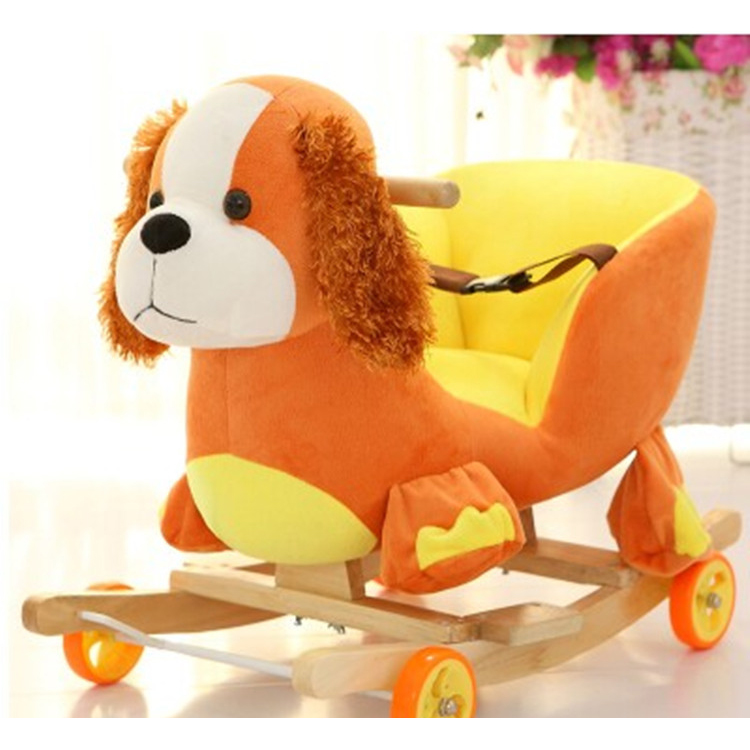 2018 New Cute Plush Baby Dog Puppy Rocking Chair Sofa Pillow Children Wood Swing Seat Kids Outdoor Rocking Stroller Toy 50T0542