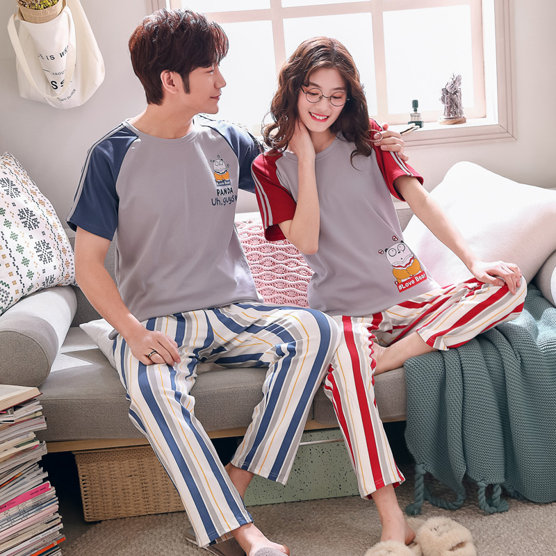 Summer Spring Cartoon Striped Printed Long Sleeve Couple Pajamas Set Women & Men Sleepwear Home Clothing