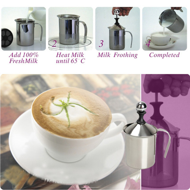 ASLT Hign Quality Stainless Steel Pump Milk Frother Creamer Foam Cappuccino 400ML Coffee Double Mesh Froth Screen Silver