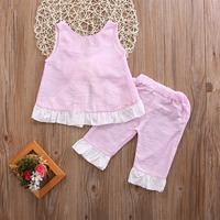 Newest Summer Kids Baby Girls O Neck Cotton Summer Outfits Clothes Bow Sleeveless T Shirt Tops