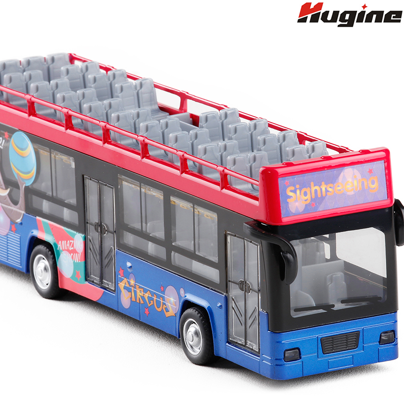 Bus Model Sightseeing Open-Top Car Alloy Model City Express High Speed With Realistic Sound And Light Full Back Kids Toys