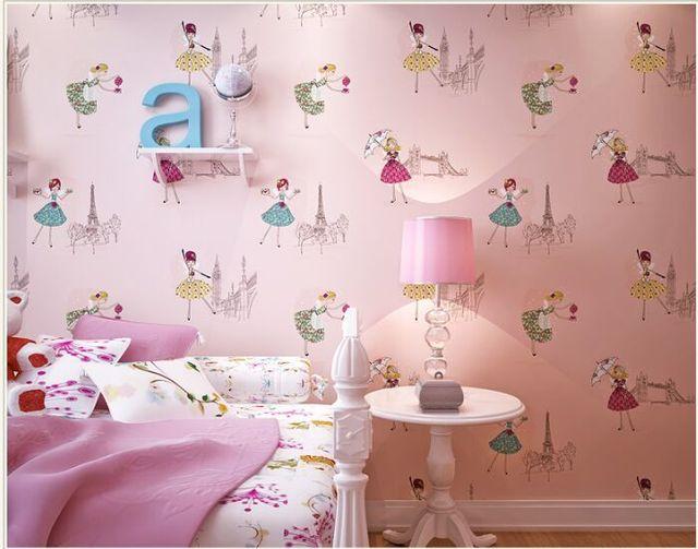 Lovely Environmental Non Woven Wallpaper Roll Cartoon Children S Room Bedroom Princess Ballet Pink For