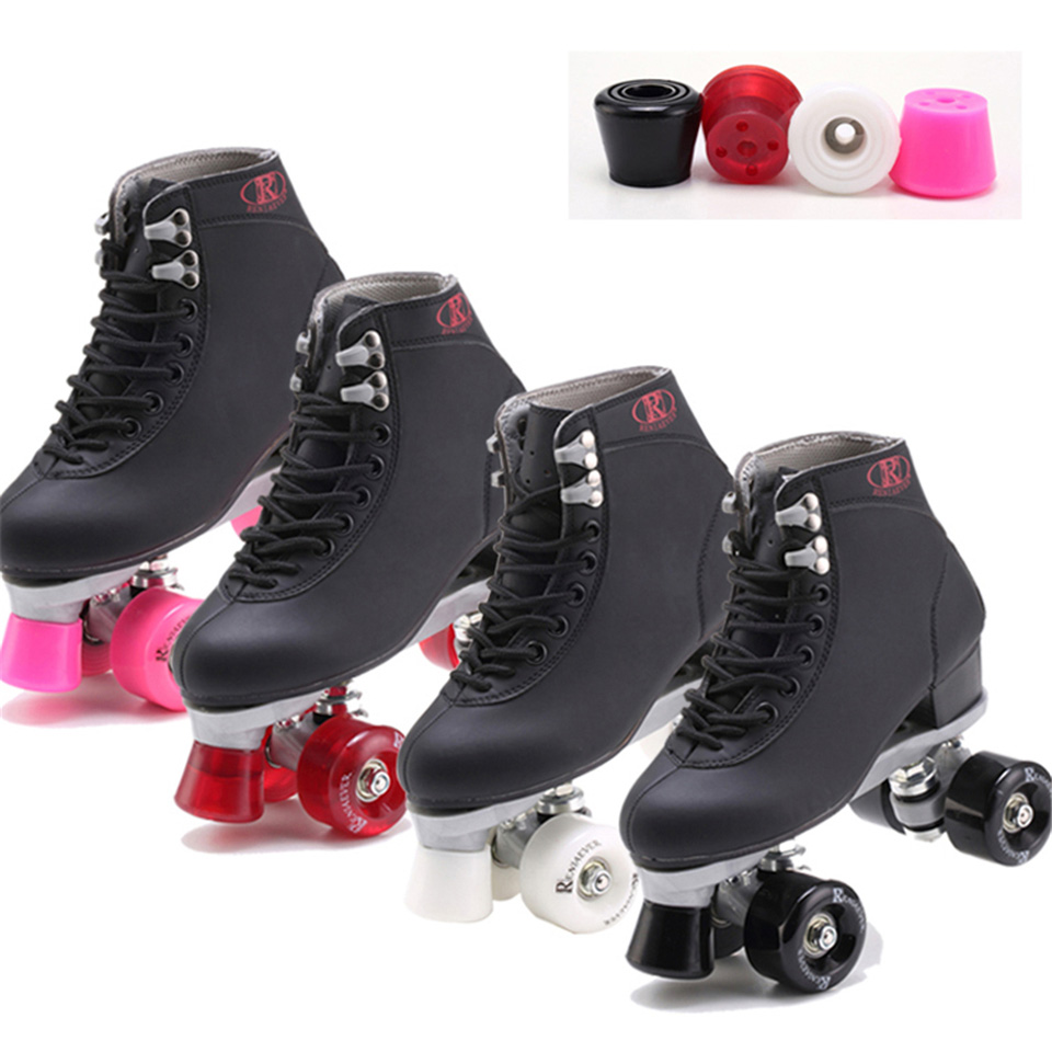BSTFAMLY Roller Skates Geniune Leather Double Line Skate Pink Men Women Adult Pink PU 4 Wheels Two Line Skating Shoes Patines C3 roller skates white with green led lighting wheels double line skates adult 4 wheels two line roller skating shoes patines