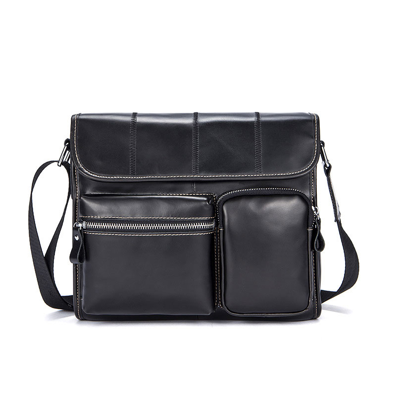 TIANHOO genuine leather shoulder bag man setchels book pocket business bags vintage first cowwide layer crossbody