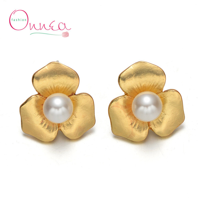 Gold Plated Rose Flower Stud Earrings For Women Brand Design Pearl Fashion Jewelry Smt4821 003 In From