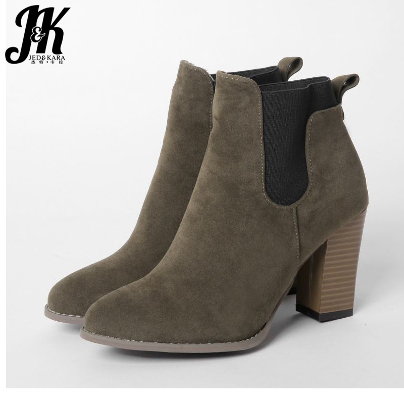 Big Size 34-47 High Heels Shoes Woman Warm Fall Winter Boots Women Slip On Ankle Boots Mixed Colors Elastic Band Female Footwear big size 34 43 fashion rivets skid proof ankle boots square high heels platform shoes fall concise winter boots shoes woman