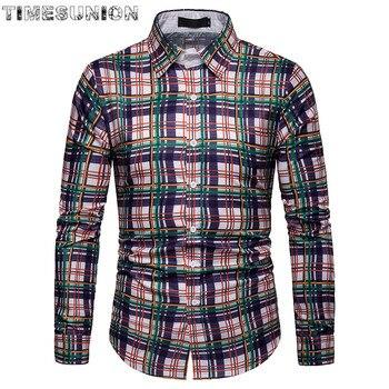 High Quality Plaid Print Shirt Men Long Sleeve Formal Business Smart Casual Men Shirt Social Button-Down Dress Shirt button up long sleeve plaid shirt