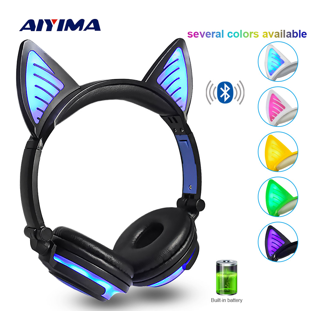 2612e4e15f6 AIYIMA Bluetooth Earphone Wireless Headphones Foldable Flashing Cat Ear Kids  Headphones Gaming Headset With LED Light
