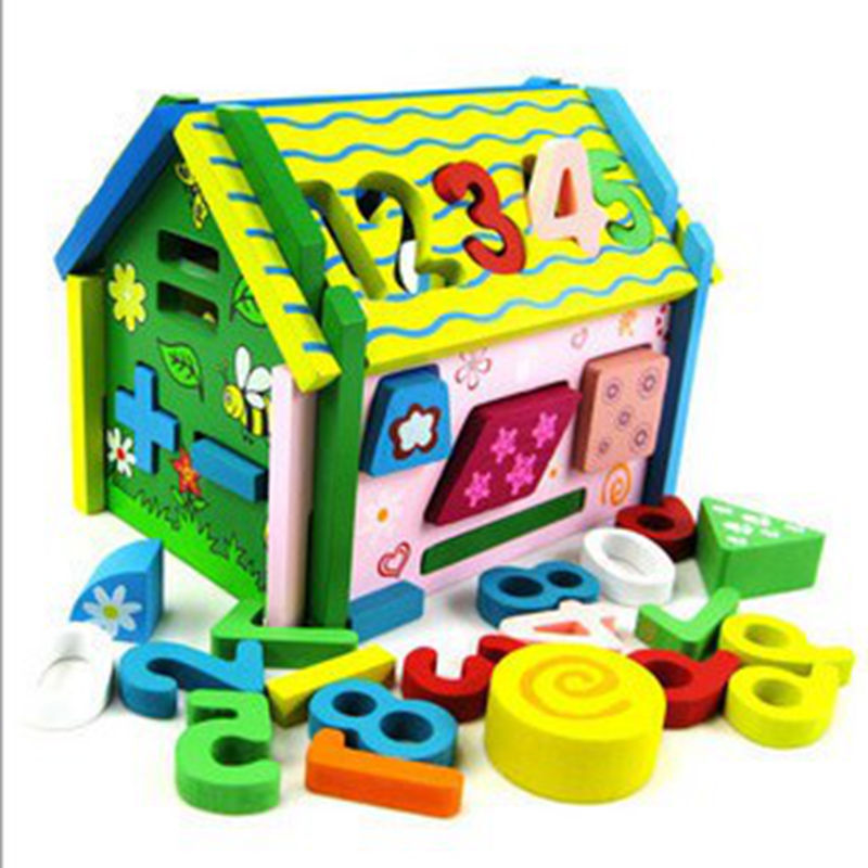 Removable wooden toys baby digital Smart house hands-on disassembly and assembly geometry house Building Blocks Educational Toys