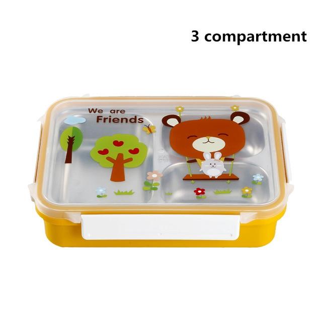 Yellow 3compartments Cheap bento boxes 5c6479e2ee0b4