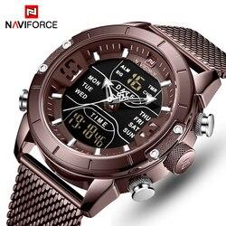Top luksusowa marka NAVIFORCE wojskowi wodoodporne zegarki sportowe męskie kwarcowy zegarek na rękę analogowy zegar cyfrowy relogio masculino