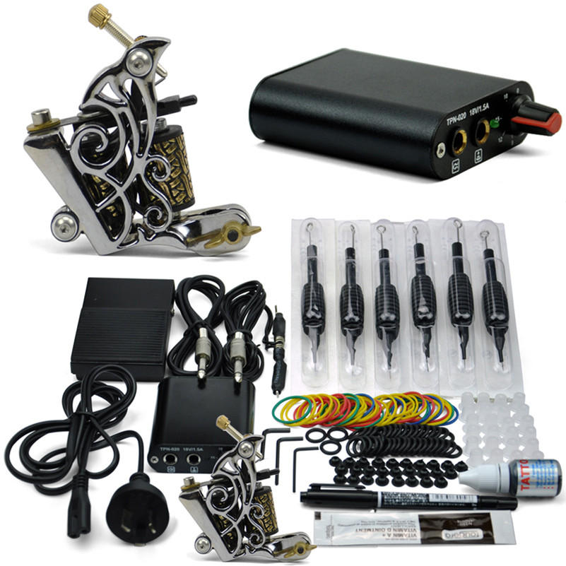 Complete Tattoo Machine Kit 1 Pro Machine Guns Inks Power Supply Footpedal Grips For Beginners solong tattoo complete tattoo kit 2 pro machine guns 54 inks power supply foot pedal needles grips tips tk244