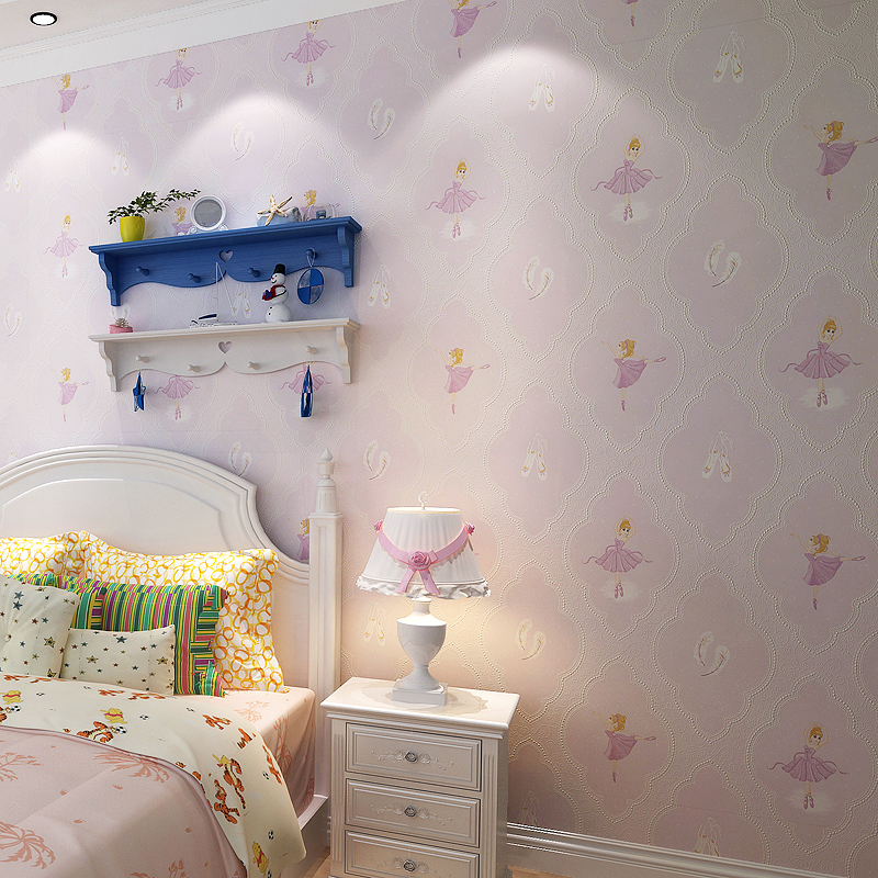 3D Cartoon Wallpaper Non Woven Lovely Girl Wallpaper Roll Child Princess Wallpaper Mural Dancing Girl Bedroom Wallpaper Pink