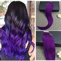 Полный Фиолетовый Блеск Ленты в Наращивание Волос Remy Человеческих Волос Ленты расширения Реми Лентой в Наращивание Волос 25 г 16 до 24 дюйм(ов)