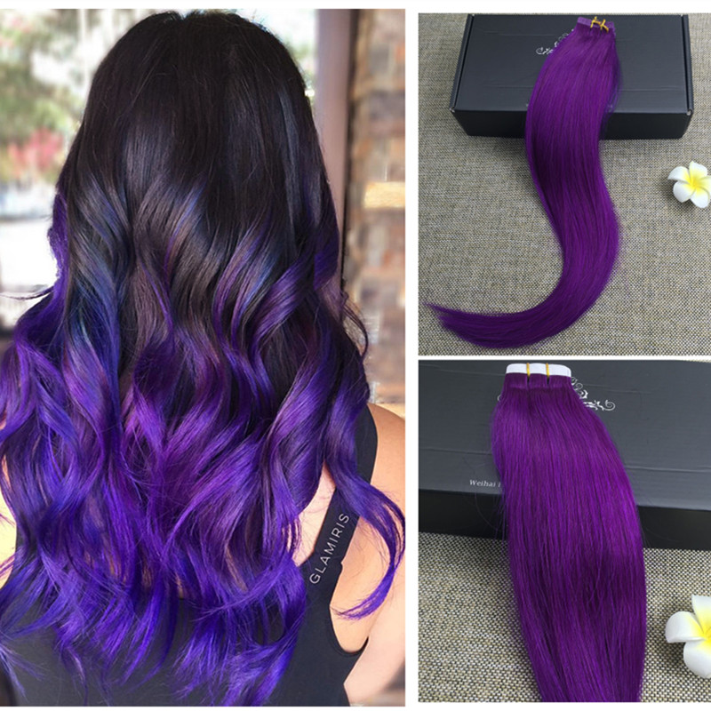Full shine purple tape in hair extensions remy human tape hair full shine purple tape in hair extensions remy human tape hair extensions remy taped in hair extensions 25g 16 to 24 inches in skin weft hair extensions pmusecretfo Images