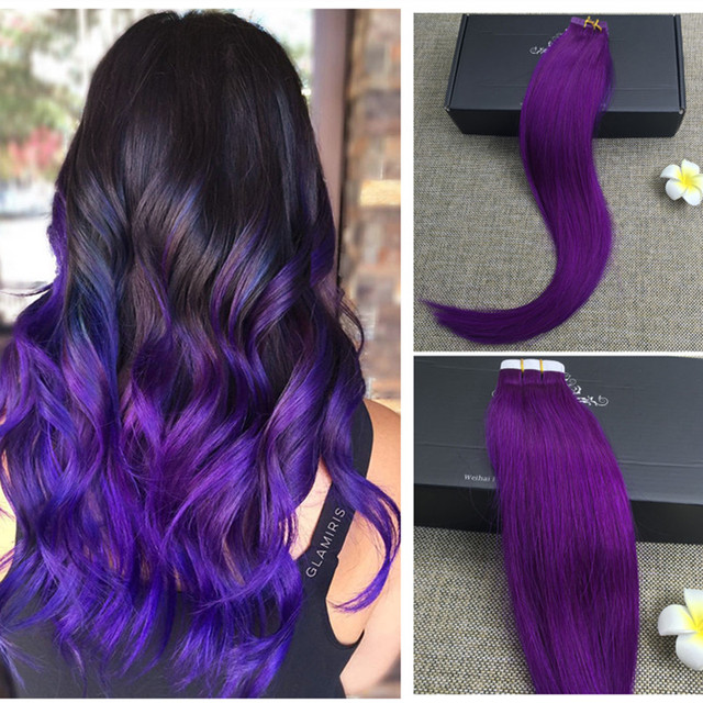 Full Shine Purple Tape In Hair Extensions Remy Human Tape Hair