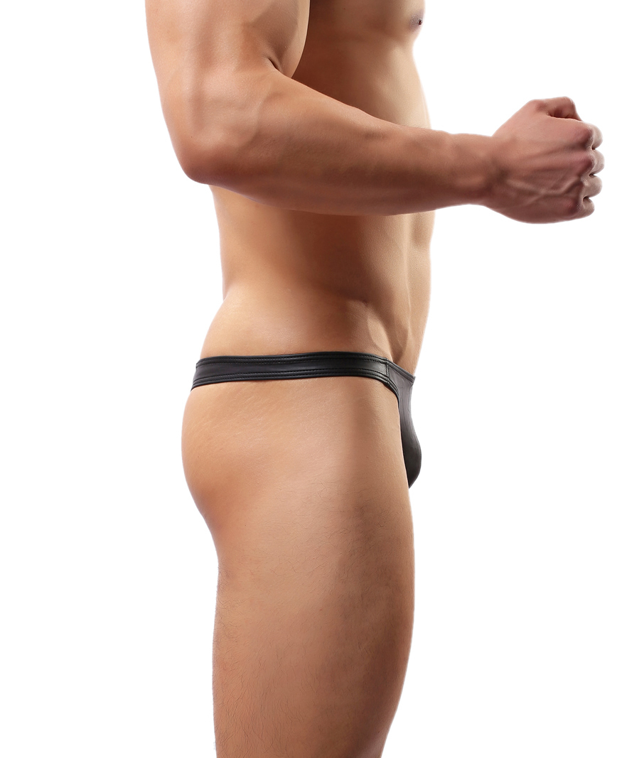 f33351910125 Creative Fashion Sexy Elastic Men s Underwear Faux Leather Thong Swimming  Trunks Black C 36-in Men s Costumes from Novelty   Special Use on  Aliexpress.com ...