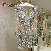 Liyatt удивительные GlamorousColorful Кристалл одежда с длинным рукавом v образным вырезом Blining коктейльные платья 2016 Sexy Мини Женское вечернее платье