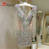 Amazing GlamorousColorful Crystal Long Sleeves V Neck Blining Cocktail Dresses 2016 Sexy Mini Women Party Dress