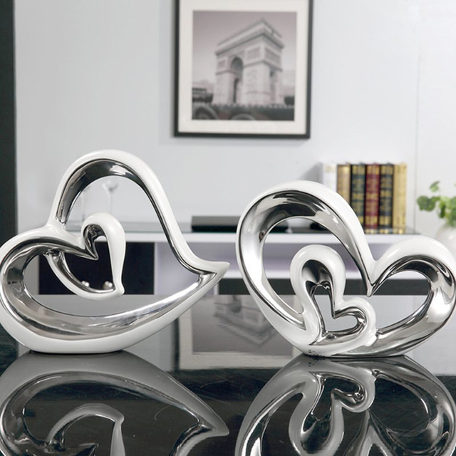 Modern Ceramic heart shaped Home Furnishing Articles Porcelain  Crafts Figurines & Miniatures  home decoration accessories