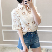 Women shirt Summer Hollow out Embroidery Short Sleeve Shirt Pure Color Cotton Shirt Embroidered Blouse Woman