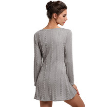 Winter Dresses Women Long Sleeve Crewneck Jumper Slim Casual Knitted Sweater Dress White Fast Shipping Fanoni