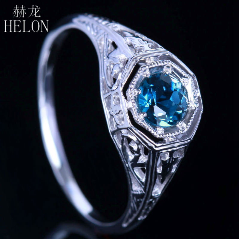 HELON Pave 0.92ct Blue Topaz 4.5mm Round Cut Solid 10k White Gold Art Nouveau Engagement Wedding Ring,retail and wholesale trade