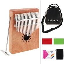 17 Key Kalimba Single Board Mahogany Thumb Piano Mbira Mini Keyboard Musical Instrument with Complete Accessories