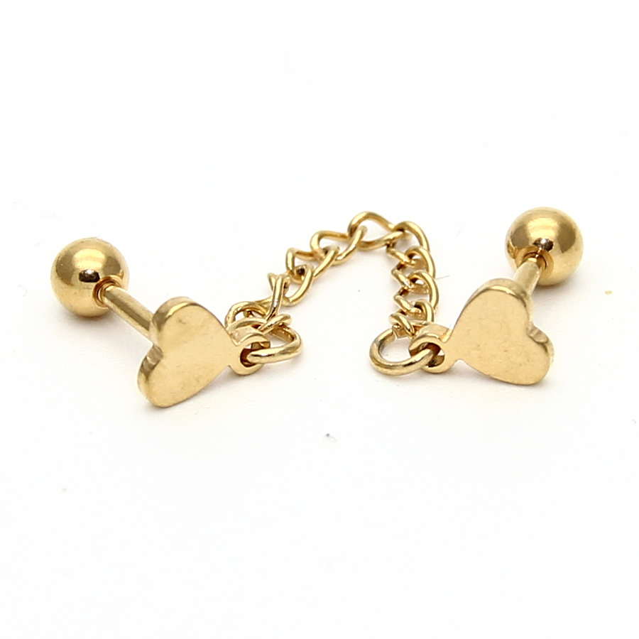 Unisex Stainless Steel Ear Piercing Cartilage Stud Earring Heart Helix  Tragus Cuff With Chain Body Jewelry