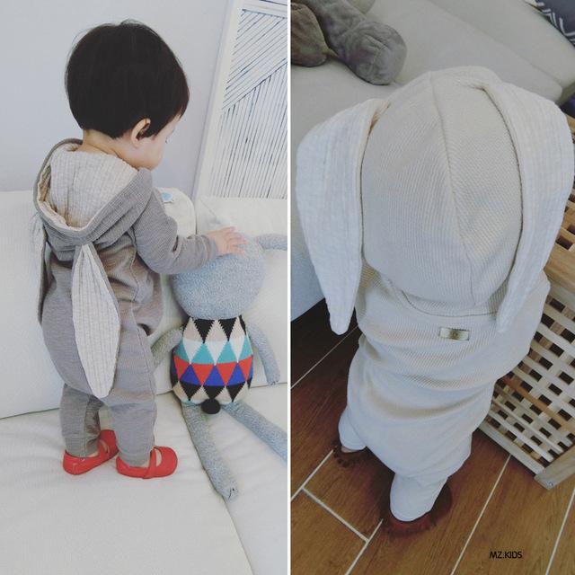 Bebê Macacão Crianças Roupas Ternos Infantil Macacão de Algodão Orelhas de Coelho Com Capuz Outwear Trajes de Roupas de Bebê Meninos Meninas Jumpsuit