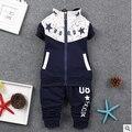 2016 Meninos roupas de inverno do outono do algodão conjunto de roupas + calça 2-piece set terno crianças agasalho esporte outerwear bebê presente de natal