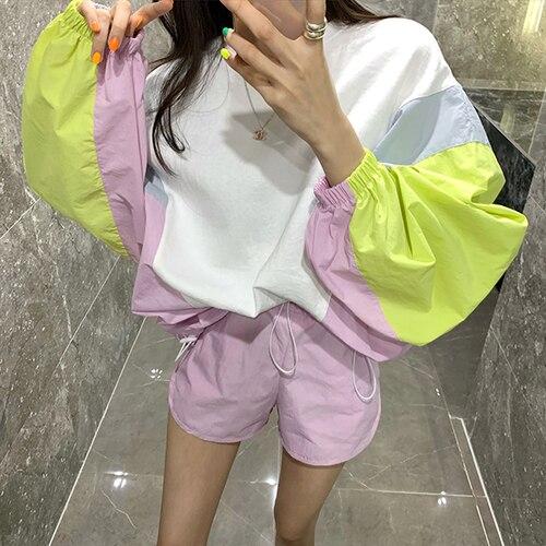 Protection solaire survêtement extérieur femmes manches chauve-souris décontracté hauts taille élastique Shorts Sport costume femme rayure Patchwork 2 ensemble