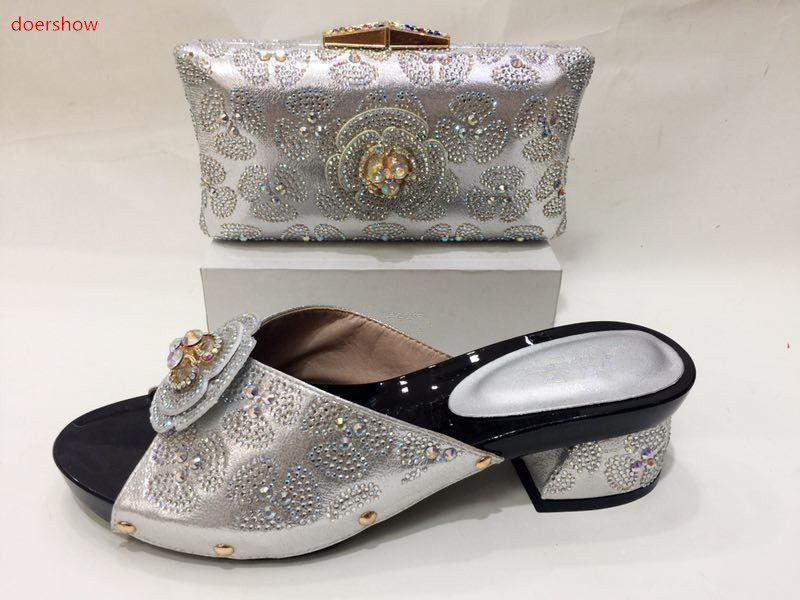 doershow Nice Design silver Italian Shoes With Matching Bags Latest Rhinestone African Women Shoes and Bags Set For Sale KH1-10 2016 italian shoes with matching bags for party high quality african shoes and bags set for wedding