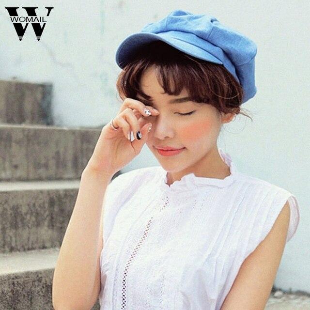 7cd62a2fe8 Las mujeres asombrosas de la manera boina sombrero Jean azul color sólido tapas  para las señoras
