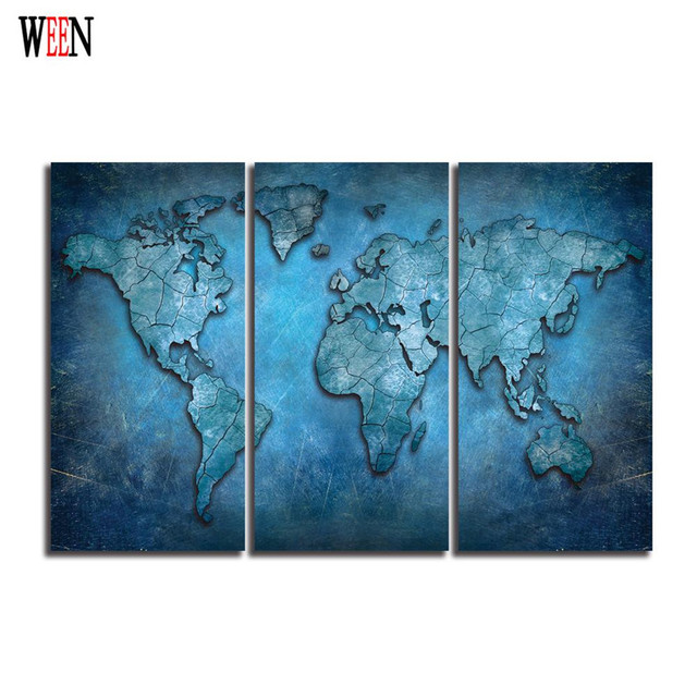 3 panels map canvas painting on wall world map poster modern 3 panels map canvas painting on wall world map poster modern waterproof canvas picture wall pictures gumiabroncs Gallery