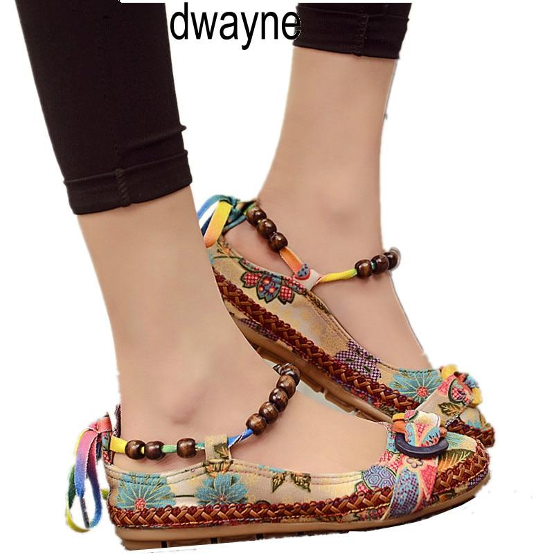 בתוספת גודל מזדמן שטוח נעלי נשים דירות חרוזים קרסול רצועות מוקסינים Zapatos Mujer רטרו אתני רקום נעלי ghn8