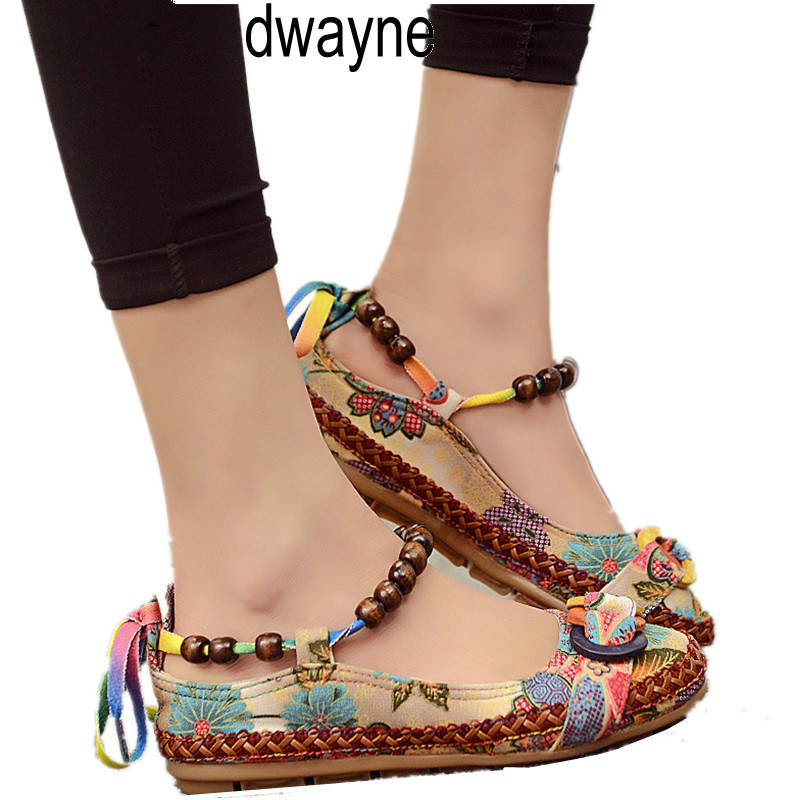 Plus size Casual Flat Shoes Women Flats Beaded Ankle Straps Loafers Zapatos Mujer Retro Ethnic Embroidered Shoes ghn8